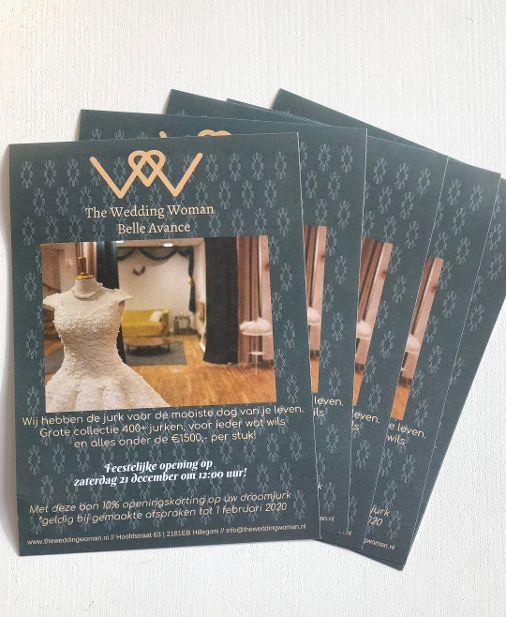 uitnodigingsflyer Bruidswinkel The Wedding Woman